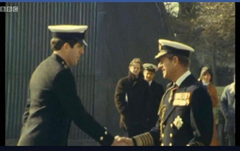 HRH Prince Phillip presenting Jim Kearns (ex RN) with his LSM