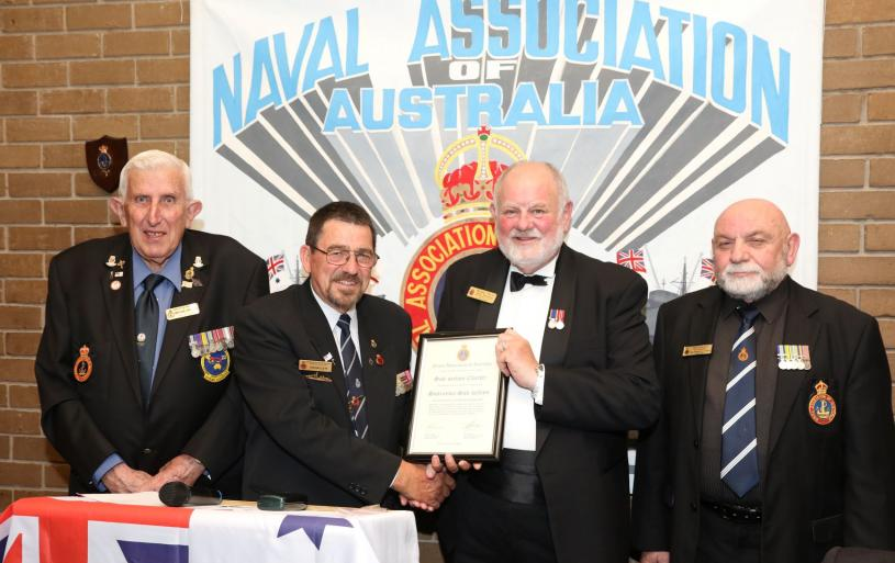 Annual Dinner 12 October 2019. Presentation of Sunraysia's Charter by Russell Pettis, State President. In picture, Ian Kellett, Lee Andrews and Michael Chopping