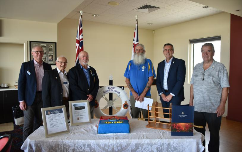 Minister Chester with Graham Thomas, Tom de Voil, Mick Collins, Peter Tunnage and Bob Billingsley 7 February 2021