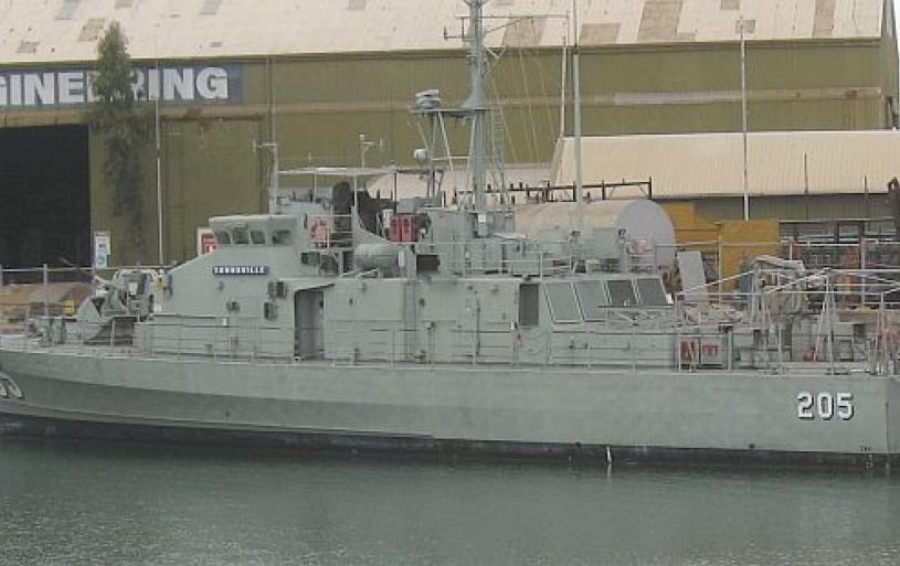 HMAS TOWNSVILLE'S FINAL RESTING PLACE IN TOWNSVILLE HARBOUR:-