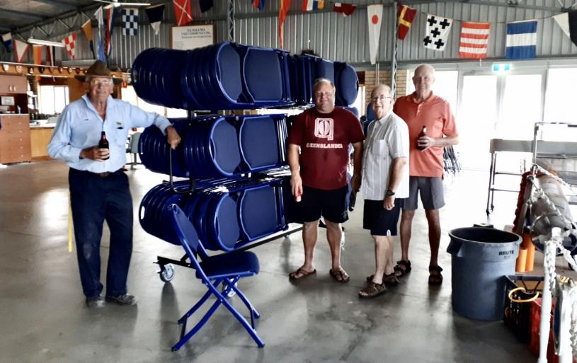 Proudly inspecting (on 17 March 2020) the Mesh One Flex One Swiftset Full Tree Cart and its six dozen FlexLite folding chairs, thanks to a successful application for an Australian Government Department of Veterans' Affairs' grant valued at more than $11,000. Pictured (from left) were: Bob Grant of the TS Paluma Committee, Jerry, TS Paluma CO, ANC_LT Merv Ward, and Sub-Section secretary, Kevin Wilson.
