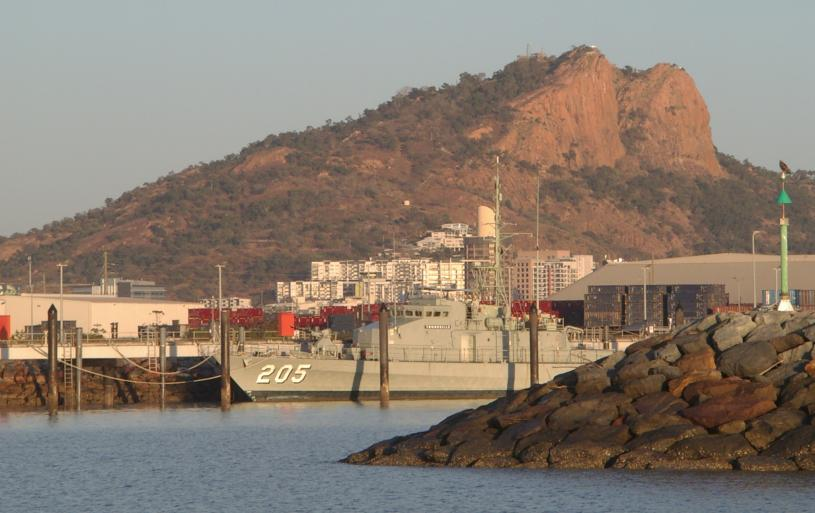 ex HMAS Townsville ( Sept 2018 ) - present moorings with Castle Hill in the background.