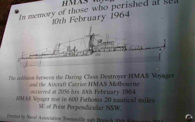 The plaque for the HMAS Voyager Memorial at the Maritime Museum of Townsville.