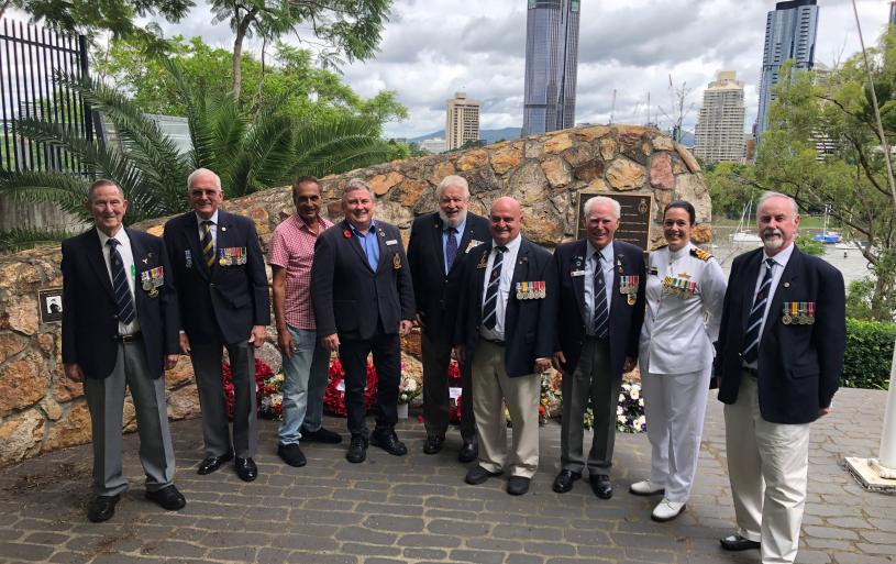 The Sub-Section contingent gathered in front of the Naval Memorial in the grounds of St Mary's Anglican Church, Kangaroo Point, after the annual Sinking of HMAS Voyager Commemoration Service on 7 February 2021. Pictured (at right) is the Commanding Officer of HMAS Moreton, CDR Phillipa Hay (RAN). Photo courtesy of Sub-Section patron, Mr Rod Chaipello.