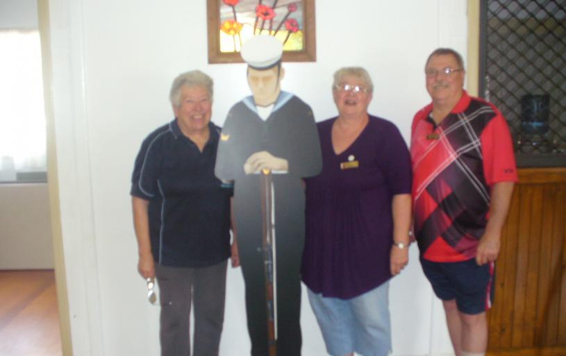 Secretary Carol Milton, Treasurer Jan Priest and President Lee Priest. Model made by Brenda Baguley