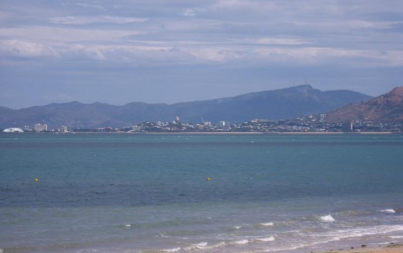 Townsville in the distance – photo taken from Picnic Bay, Magnetic Island:-
