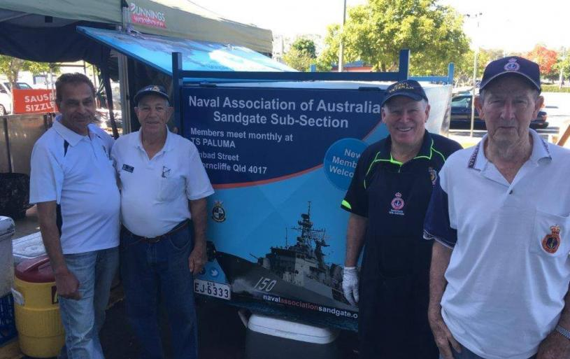At your service. Some of our Sandgate Sub-Section volunteers at the monthly sausage sizzle fundraiser at Bunnings Carseldine.