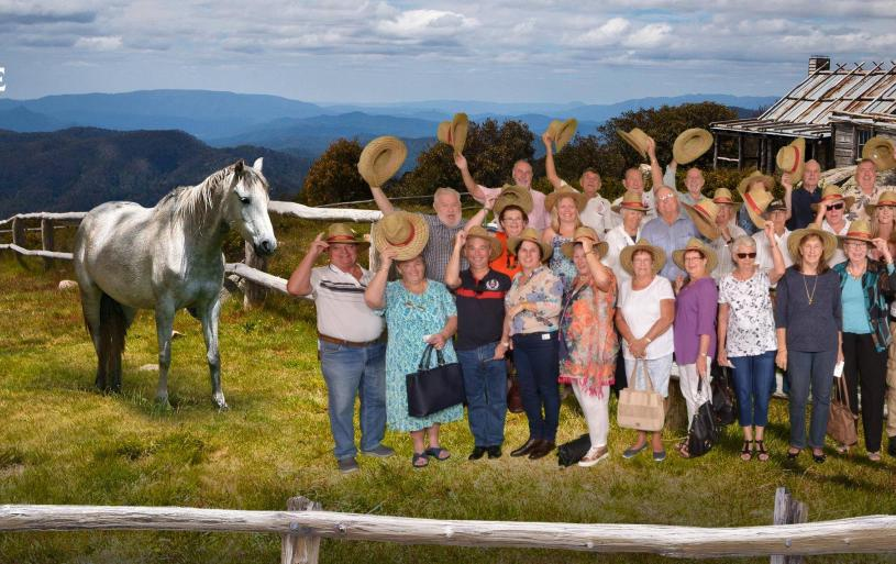 "Fellowship, Sandgate Sub-Section style: The group shot taken at the ""Salute to The Light Horse High Country Special"" at the Australian Outback Spectacular at Oxenford, near the Gold Coast, in 2017."