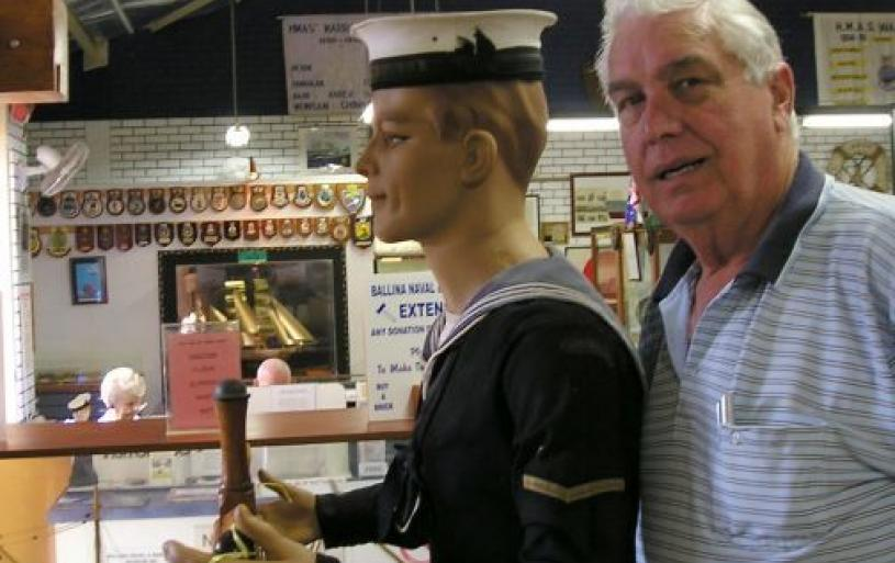 President Merv supervising the helmsman in the Museum